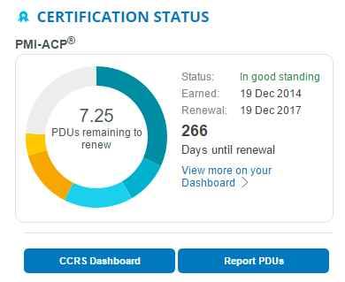 PMI Certification Status - dashboard PMI-ACP status